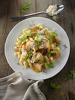 Sauteed Yellow Oyster mushroom with Cavatappi pasta also known as cellentani, amori, spirali, tortiglioni, or fusilli rigati