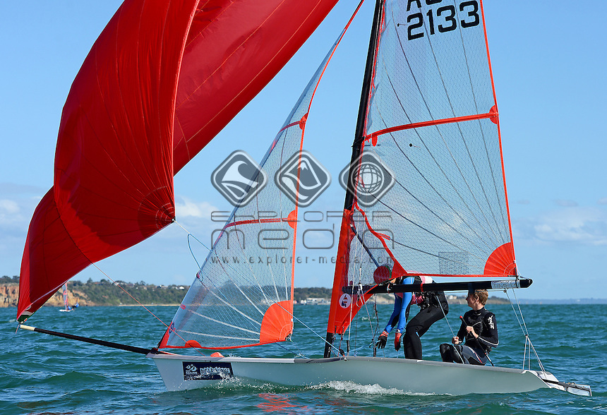 29ER / Kyle O'CONNELL &amp; Shon MORI (AUS)<br /> 2013 ISAF Sailing World Cup - Melbourne<br /> Sail Melbourne - The Asia Pacific Regatta<br /> Sandringham Yacht Club, Victoria<br /> December 1st - 8th 2013<br /> &copy; Sport the library / Jeff Crow