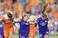 Houston, TX - Saturday Sept. 03, 2016: Morgan Brian, Dani Weatherholt, Alex Morgan during a regular season National Women's Soccer League (NWSL) match between the Houston Dash and the Orlando Pride at BBVA Compass Stadium.