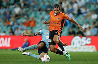 Brisbane Roar Shane Stefanutto (R) and Sydney FC Carei Gameiro during their A-League match in Sydney, March 14, 2014. Photo by Daniel Munoz/VIEWPRESS EDITORIAL USE ONLY