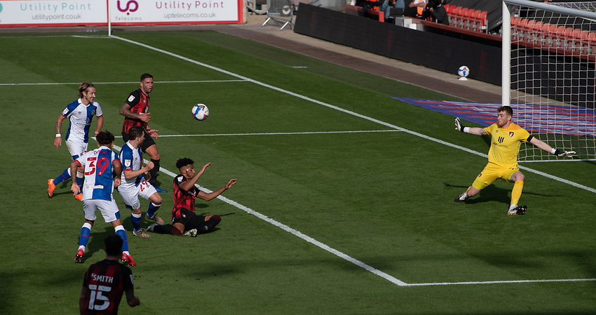 Bournemouth's Mark Travers right) under pressure from Blackburn Rovers <br /> <br /> Photographer David Horton/CameraSport <br /> <br /> The EFL Sky Bet Championship - Bournemouth v Blackburn Rovers - Saturday September 12th 2020 - Vitality Stadium - Bournemouth<br /> <br /> World Copyright © 2020 CameraSport. All rights reserved. 43 Linden Ave. Countesthorpe. Leicester. England. LE8 5PG - Tel: +44 (0) 116 277 4147 - admin@camerasport.com - www.camerasport.com
