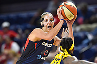 Washington, DC - Aug 8, 2019: Washington Mystics forward Elena Delle Donne (11) makes a move against Indiana Fever guard Erica Wheeler (17) during 2nd half action of game between the Indiana Fever and the Washington Mystics. The Mystics defeat the Fever 91-78 at the Entertainment & Sports Arena in Washington, DC. (Photo by Phil Peters/Media Images International)
