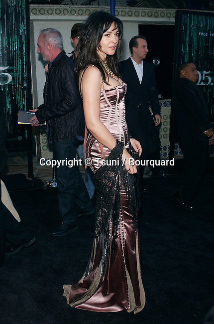 "Monica Bellucci arriving at the "" Premiere of Matrix Reloaded "" at the Westwood Village Theatre in Los Angeles. May 7, 2003."