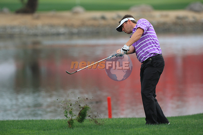 Pablo Martin playing his second shot on the first on day one of the Abu Dhabi HSBC Golf Championship 2011, at the Abu Dhabi golf club 20/1/11..Picture Fran Caffrey/www.golffile.ie.