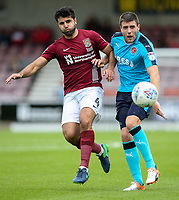 Northampton Town's Yaser Kasim competing with Fleetwood Town's Bobby Grant <br /> <br /> Photographer Andrew Kearns/CameraSport<br /> <br /> The EFL Sky Bet League One - Northampton Town v Fleetwood Town - Saturday August 12th 2017 - Sixfields Stadium - Northampton<br /> <br /> World Copyright &copy; 2017 CameraSport. All rights reserved. 43 Linden Ave. Countesthorpe. Leicester. England. LE8 5PG - Tel: +44 (0) 116 277 4147 - admin@camerasport.com - www.camerasport.com