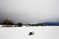 A young boy lays in the snow in a field in Whitefish, Montana, USA.