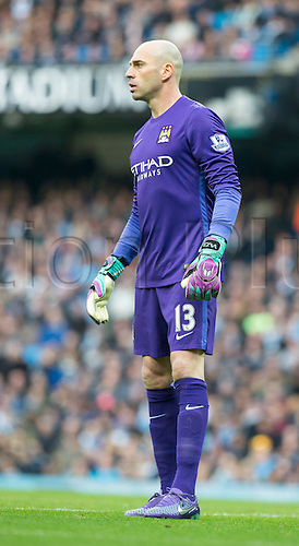 20.03.2016. Etihad Stadium, Manchester, England. Barclays Premier League. Manchester City versus Manchester United.  Manchester City goalkeeper Willy Caballero watches the action upfield