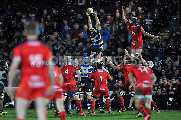 Pat Jenkinson of Bath United wins the ball at a lineout. Aviva A-League match, between Bath United and Bristol United on December 28, 2015 at the Recreation Ground in Bath, England. Photo by: Patrick Khachfe / Onside Images
