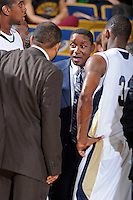 12 January 2012:  FIU Basketball Head Coach Isiah Thomas speaks with his players during a timeout in the second half as the Middle Tennessee State University Blue Raiders defeated the FIU Golden Panthers, 70-59, at the U.S. Century Bank Arena in Miami, Florida.