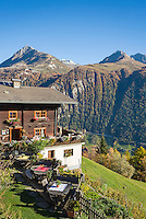Austria, East-Tyrol, near Matrei in East-Tyrol: 'Strumerhof', mountain restaurant above Tauern Valley with panoramic view   Oesterreich, Osttirol, bei Matrei in Osttirol: der Strumerhof, Bergbauernhof mit Panoramablick oberhalb des Tauerntals