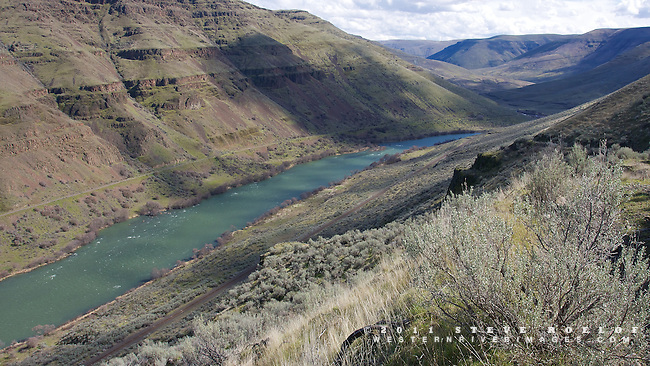 Cloud shadows and spring light in the Lower Deschutes Canyon, Oregon. The Deschutes River Trail is on the far side of the river.