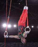 Wales' Clinton Purnell performs her routine in the gymnastics artistic men's rings final<br /> <br /> Photographer Chris Vaughan/CameraSport<br /> <br /> 20th Commonwealth Games - Day 8 - Thursday 31st July 2014 - Gymnastics - The SSE Hydro - Glasgow - UK<br /> <br /> © CameraSport - 43 Linden Ave. Countesthorpe. Leicester. England. LE8 5PG - Tel: +44 (0) 116 277 4147 - admin@camerasport.com - www.camerasport.com