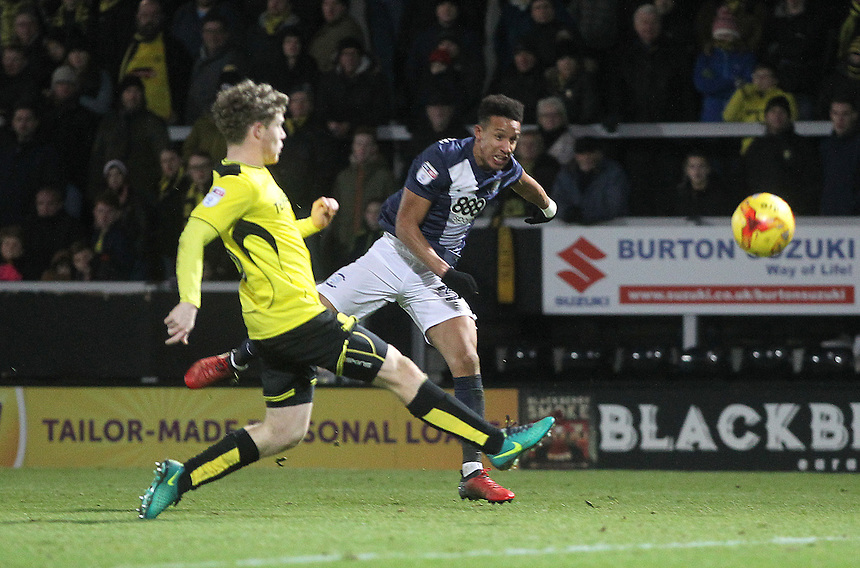Preston North End's Callum Robinson gets a shot on goal<br /> <br /> Photographer Mick Walker/CameraSport<br /> <br /> The EFL Sky Bet Championship - Burton Albion v Preston North End - Monday 2nd January 2017 - Pirelli Stadium - Burton upon Trent<br /> <br /> World Copyright &copy; 2017 CameraSport. All rights reserved. 43 Linden Ave. Countesthorpe. Leicester. England. LE8 5PG - Tel: +44 (0) 116 277 4147 - admin@camerasport.com - www.camerasport.com