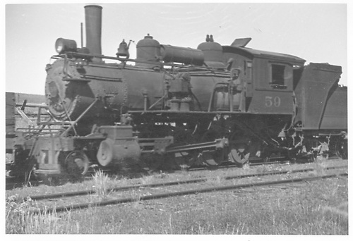 3/4 fireman's-side view of MT #59 in yards.<br /> Midland Terminal