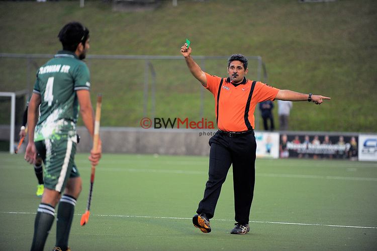 Muhammad Rizwan is green carded during the international men's hockey match between the NZ Black Sticks and Pakistan at National Hockey Stadium in Wellington, New Zealand on Monday, 20 March 2017. Photo: Dave Lintott / lintottphoto.co.nz