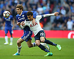 Chelsea's Marcos Alonso tussles with Tottenham's Dele Alli during the FA Cup Semi Final match at Wembley Stadium, London. Picture date: April 22nd, 2017. Pic credit should read: David Klein/Sportimage