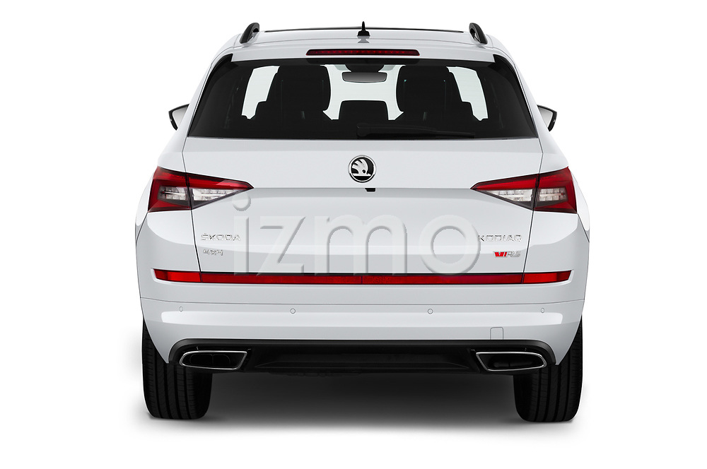 Straight rear view of 2019 Skoda Kodiaq RS 5 Door SUV Rear View  stock images