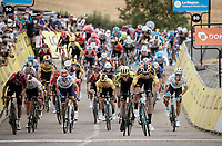 After winning Strade Bianche and Milan-Sanremo just days before, Wout van Aert (BEL/Jumbo - Visma) now also claims the first stage of the Dauphiné that ended in a stretched uphill bunch sprint & thus becomes the first GC leader in this race.<br /> Beating the likes of: Daryl Impey (ZAF/Mitchelton-Scott), Egan Bernal (COL/Ineos), Alejandro Valverde (ESP/Movistar), Tadej Pogačar (SVN/UAE-Emirates),...<br /> <br /> <br /> Stage 1: Clermont-Ferrand to Saint-Christo-en-Jarez (218km)<br /> 72st Critérium du Dauphiné 2020 (2.UWT)<br /> <br /> ©kramon
