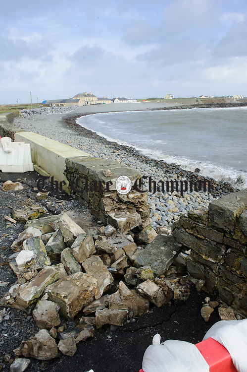 A damaged sea wall outside Keatings in Kilbaha as a result of Storm Imogen. Photograph by John Kelly.