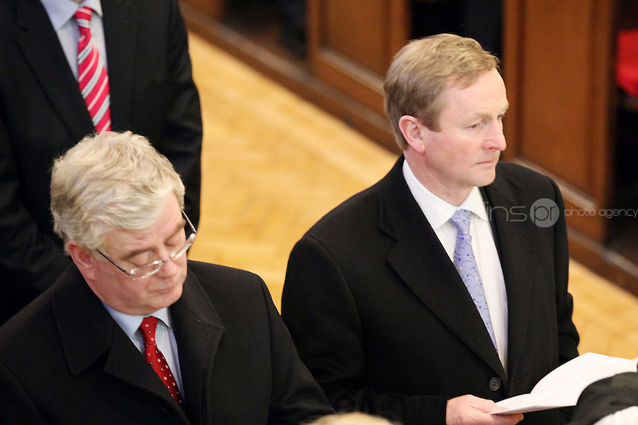 9/3/2011. An Taoiseach and Fine Gael leader Enda Kenny and Labour leader Eamon Gilmore are pictured at St Ann's Church, Dawson St Dublin at mass with the president before attending the first day at the Dail. Picture James Horan/Collins