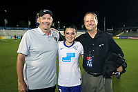 Cary, North Carolina  - Saturday June 17, 2017: Bill Palladino, Brooke Elby, and Anson Dorrance after a regular season National Women's Soccer League (NWSL) match between the North Carolina Courage and the Boston Breakers at Sahlen's Stadium at WakeMed Soccer Park. The Courage won the game 3-1.