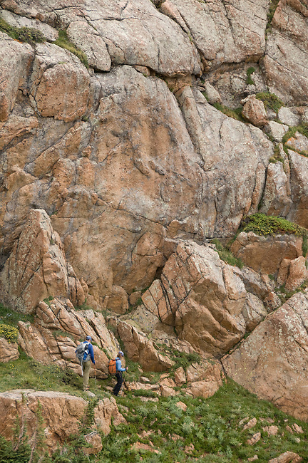 couple hiking, (MR), hike, subalpine, Rocky Mountain, landscape, cliff, stream, high elevation, recreation, outdoors, activity, adventure, August, afternoon, Rocky Mountain National Park, Colorado, USA
