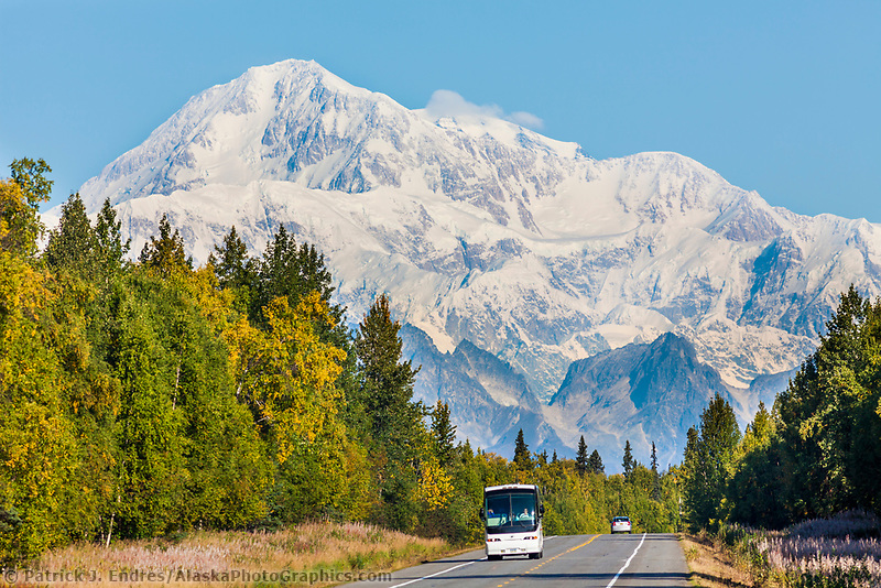 View of Mt. Denali and the George Parks Highway.