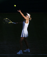 Caroline Wozniacki (DEN) during her match against Veronika Kudermetova (RUS) in their Ladies' Singles Second Round match<br /> <br /> <br /> Photographer Rob Newell/CameraSport<br /> <br /> Wimbledon Lawn Tennis Championships - Day 3 - Wednesday 3rd July 2019 -  All England Lawn Tennis and Croquet Club - Wimbledon - London - England<br /> <br /> World Copyright © 2019 CameraSport. All rights reserved. 43 Linden Ave. Countesthorpe. Leicester. England. LE8 5PG - Tel: +44 (0) 116 277 4147 - admin@camerasport.com - www.camerasport.com
