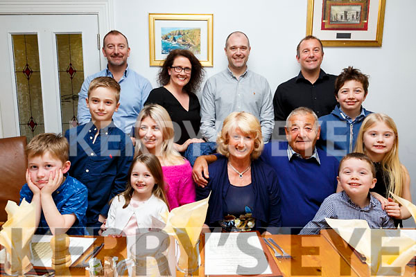 Mary and David Sharp, seated front with their family, celebrating their 45th wedding anniversary in Bella Bia on Sunday evening.  <br /> Front row: l-r, Charlie Sharp, Jack and Sadie Lynch, Jane Lynch, Mary, David and Fionn Sharp and Emma Lynch.<br /> Standing l-r, Richard and Olive Sharp, Tony Lynch, David and Ben Sharp.