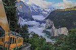 Switzerland, Eiger.  Train View. <br /> I use keywords not only in Lightroom, but to remember to photograph certain kinds of images. Step back and include part of the train, to give the viewer a unique point of view. Other keywords: car view, street view and room view.<br /> Riding the Gornergrat Train at sunrise from Lauterbrunnen to Kleine Schedegg, Switzerland.