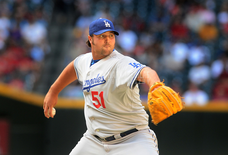 Apr. 9, 2008; Phoenix, AZ, USA; Los Angeles Dodgers pitcher Jonathan Broxton against the Arizona Diamondbacks at Chase Field. Mandatory Credit: Mark J. Rebilas-