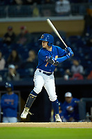 Jake Cronenworth (1) of the Durham Bulls at bat against the Gwinnett Braves at Durham Bulls Athletic Park on April 20, 2019 in Durham, North Carolina. The Bulls defeated the Braves 3-2 in game two of a double-header. (Brian Westerholt/Four Seam Images)