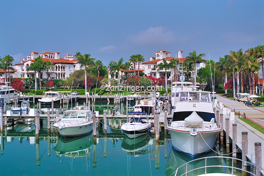 Fisher Island, Miami, Florida, Boats Docked, Luxury, Yachts, Sailboats, Buildings, Private, Condos, Houses, Water, Reflections, Red Roofs, Spanish, Palm Tree