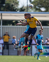 Danny Rowe of Wycombe Wanderers goes up against Nathan Webb of Slough Town during the pre season friendly match between Slough Town and Wycombe Wanderers at Arbour Park Stadium, Slough, England on 8 July 2017. Photo by Andy Rowland.