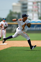 GCL Yankees East shortstop Ricky Surum (20) throws to first base during the second game of a doubleheader against the GCL Blue Jays on July 24, 2017 at the Yankees Minor League Complex in Tampa, Florida.  GCL Yankees East defeated the GCL Blue Jays 7-3.  (Mike Janes/Four Seam Images)