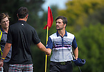 James Beale shakes hands with Johnny Tynan after finishing 6 under on day one of the Jennian Homes Charles Tour Lawnmaster Classic Manawatu Open at Manawatu Golf Club, Palmerston North, New Zealand on Friday, 18 March 2016. Photo: Dave Lintott / lintottphoto.co.nz