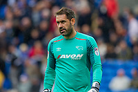 Scott Carson of Derby County during the Sky Bet Championship match between Cardiff City and Derby County at Cardiff City Stadium, Cardiff, Wales on 30 September 2017. Photo by Mark  Hawkins / PRiME Media Images.