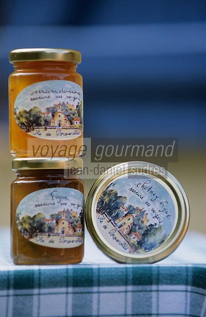 """Europe/Provence-Alpes-Côte d'Azur/83/Var/Iles d'Hyères/Ile de Porquerolles: Pots de confitures """"Saveurs des Vergers"""" de Marie-Claude Cano (Ferme de l'Oustaou de Diou)"""