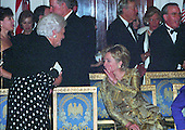 Former first lady Barbara Bush and first lady Hillary Rodham Clinton share a secret at the 200th Anniversary of the White House Dinner in the Grand Foyer of the White House in Washington, D.C. on November 9, 2000. <br /> Credit: Ron Sachs / CNP