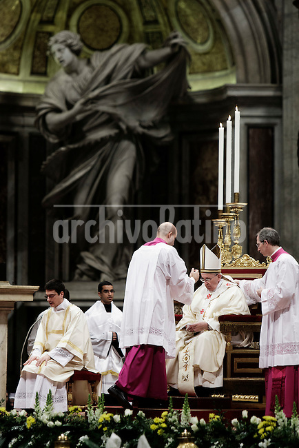 Pope Francis leads the Holy Mass for the Solemnity of the presentation of Our Lord (feast of Candelora) at St Peter basilica at the Vatican