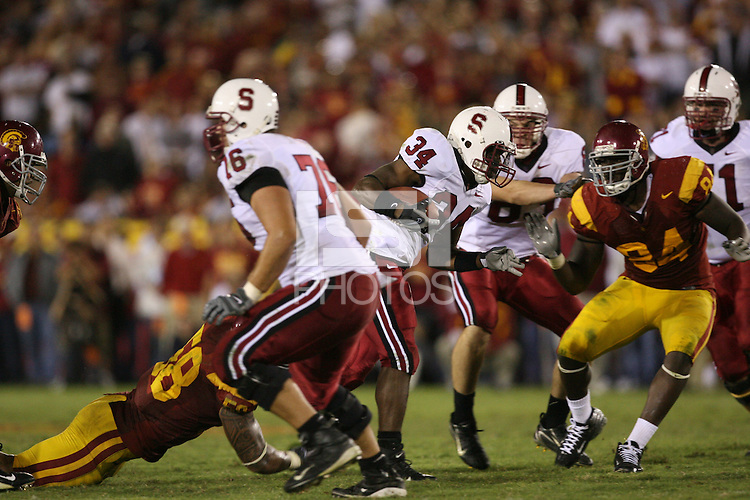 6 October 2007:  Jeremy Stewart during Stanford's 24-23 win over the #1 ranked USC Trojans in the Los Angeles Coliseum in Los Angeles, CA.
