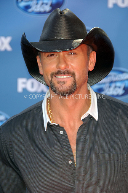 WWW.ACEPIXS.COM . . . . .  ....May 25 2011, Los Angeles....Tim McGraw arriving at the 'American Idol' season 10 finale results show at the Nokia Theatre LA on May 25, 2011 in Los Angeles, California. ....Please byline: PETER WEST - ACE PICTURES.... *** ***..Ace Pictures, Inc:  ..Philip Vaughan (212) 243-8787 or (646) 679 0430..e-mail: info@acepixs.com..web: http://www.acepixs.com