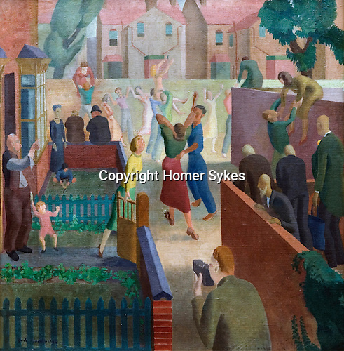 """Eric Malthouse. """"The Street Party"""", Self portrait with folding camera accoring to his daughter. Oil on canvas 27 x 27 inches. Circa 1930"""