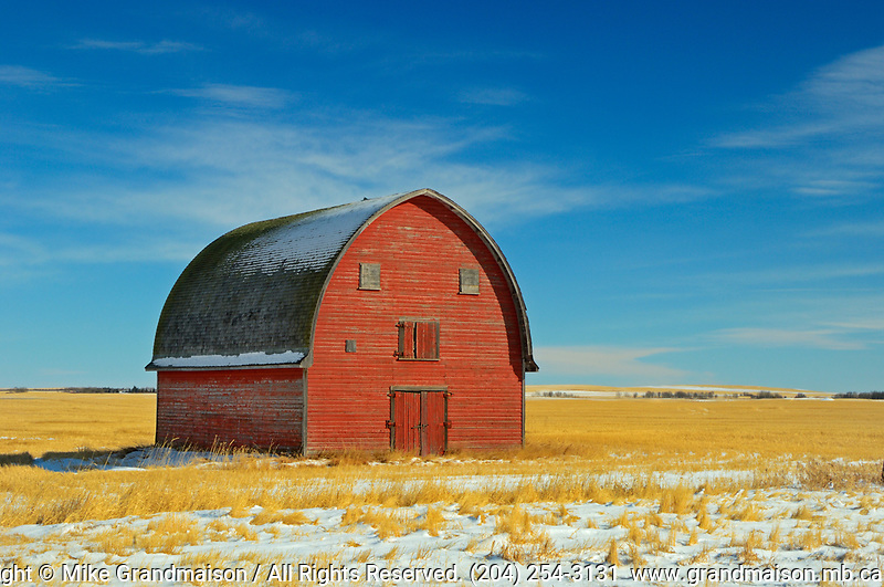 Red barn in winter<br />Vulcan<br />Alberta<br />Canada