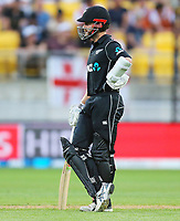 Blackcaps Kane Williamson waits for another batting partner during the third ODI cricket match between the Blackcaps & England at Westpac stadium, Wellington. 3rd March 2018. © Copyright Photo: Grant Down / www.photosport.nz