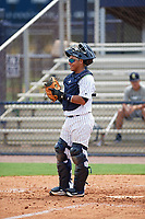 GCL Yankees East catcher Carlos Gallardo (16) during the first game of a doubleheader against the GCL Blue Jays on July 24, 2017 at the Yankees Minor League Complex in Tampa, Florida.  GCL Blue Jays defeated the GCL Yankees East 6-3 in a game that originally started on July 8th.  (Mike Janes/Four Seam Images)