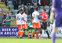 Blackpool's Marc Bola is shown a red card by Referee Neil Hair<br /> <br /> Photographer Kevin Barnes/CameraSport<br /> <br /> The EFL Sky Bet League One - Plymouth Argyle v Blackpool - Saturday 15th September 2018 - Home Park - Plymouth<br /> <br /> World Copyright &copy; 2018 CameraSport. All rights reserved. 43 Linden Ave. Countesthorpe. Leicester. England. LE8 5PG - Tel: +44 (0) 116 277 4147 - admin@camerasport.com - www.camerasport.com