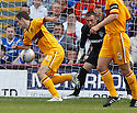 MOTHERWELL'S JAMIE MURPHY STRIKE THE BALL WITH HIS ARM BEFORE SCORING THE GOAL  DISALLOWED BY REFEREE CRAIG THOMSON