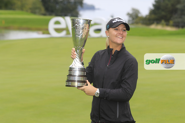 Anna Nordqvist (SWE) wins the playoff hole of Sunday's Final Round of The Evian Championship 2017, the final Major of the ladies season, held at Evian Resort Golf Club, Evian-les-Bains, France. 17th September 2017.<br /> Picture: Eoin Clarke | Golffile<br /> <br /> <br /> All photos usage must carry mandatory copyright credit (&copy; Golffile | Eoin Clarke)