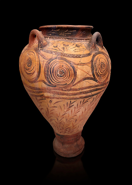 Minoan Pithoid Amphora with decorations of interconnecting spirals, crocus flowers and reeds, Hagia Triada Royal Villa 1500-1540 BC; Heraklion Archaeological  Museum, black background.